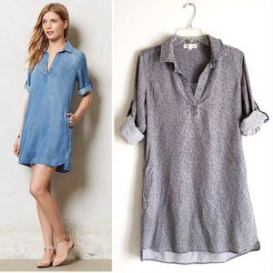Cloth & Stone grey leopard chambray dress sz S